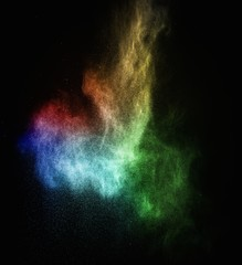 Fototapete - Colourful powder exploding isolated on black