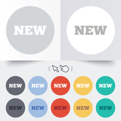 New sign icon. New arrival button.