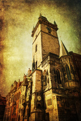 Fototapete - antik texturiertes Bild des historischen Rathausturms in Prag