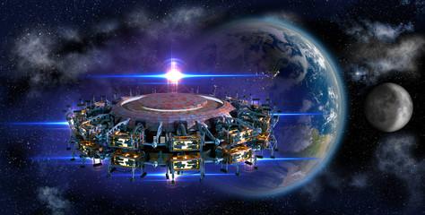 Alien mothership UFO nearing Earth