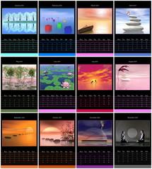 European 2015 year calendar with zen images