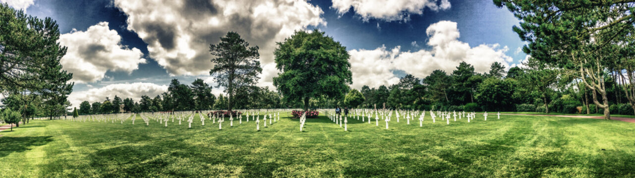 Crosses on the american Cemetery at Colleville-Sur-Mer, Normandi