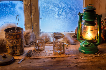 Wall Mural - Cottage on a frozen day in winter