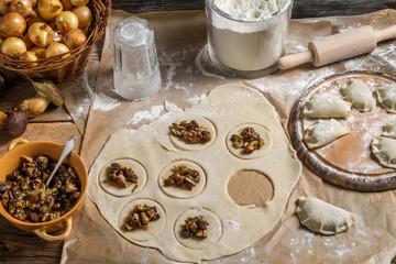Ingredients for dumplings with mushrooms