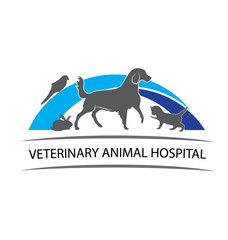 Cat dog rabbit and parrot veterinary logo design