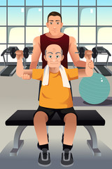 Personal trainer training an elderly man