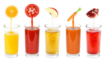 Aluminium Prints Juice Fresh fruit and vegetable juices