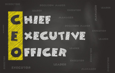Abbreviation Of Chief Executive Officer Over Black Chalk Board