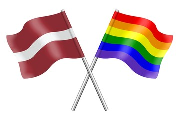 Flags: Latvia and rainbow