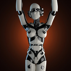 woman robot of steel and white plastic