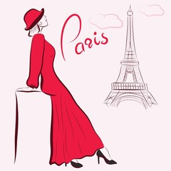 Illustration of a Beautiful woman in red. Paris