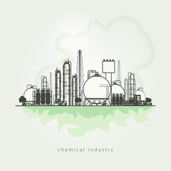 Illustration of a chemical plant or refinery processing of