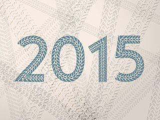 Year 2015 text with tire tracks