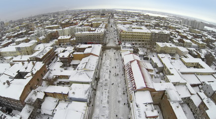 Aerial view to pedestrianized street between buildings
