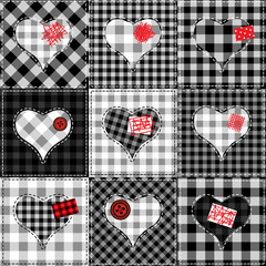 Checkered quilt with hearts.