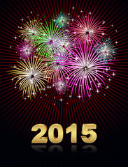 new year fireworks 2015 holiday background