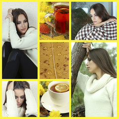 Collage of photos with lonely woman