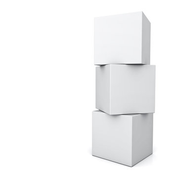 Blank 3d concept boxes standing isolated on white background