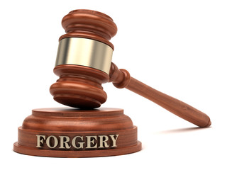 Forgery text on sound block & gavel