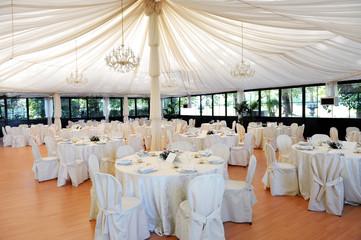 Wedding venue under a marquee