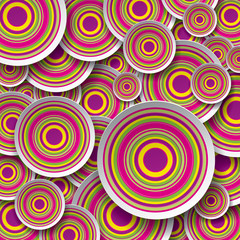 Bright and striped circles on striped background, vector art