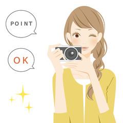 ポジティブパーツ カメラを構えた笑顔の女性