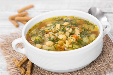 Soup with beans with dill