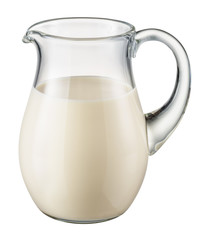 Glass pitcher of fresh milk isolated on white background. With c