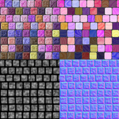 Glass tiles seamless generated texture (with diffuse, bump and n