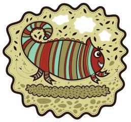 Happy striped chameleon running across the grass