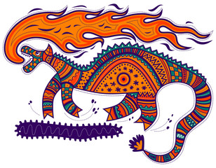Running decorative dragon breathes fire