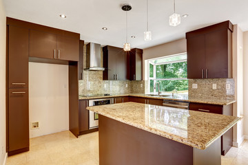 Modern kitchen room with matte brown cabinets and shiny granite