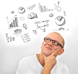 Leader company business thinking man future idea