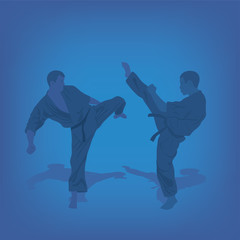 Two men are engaged in karate on a blue background.