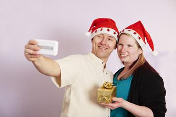 Ehepaar, Weihnachten, Selfie, Geschenk