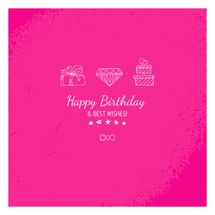 Pink gift card with happy birthday message