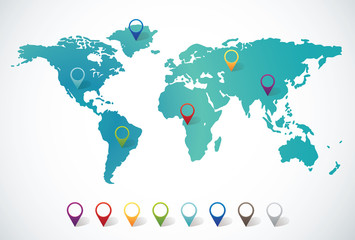 Stores à enrouleur Carte du monde Abstract world map with pin points