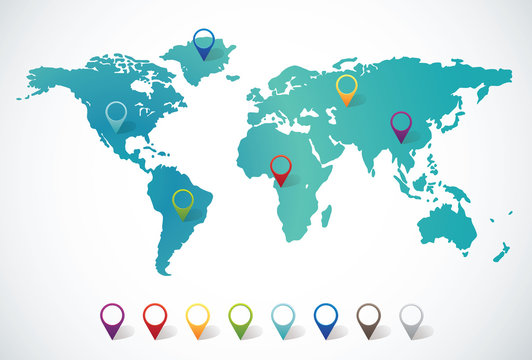 Abstract world map with pin points