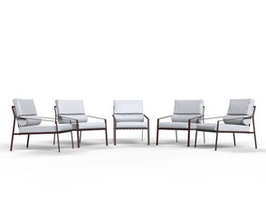 White armchairs on white background