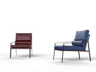 Dark red and blue leather armchairs