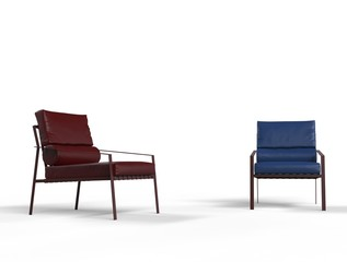 Dark red and blue armchairs on white background