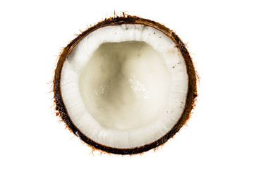Half coconut top view isolated on white