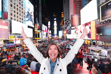 Aufkleber - Happy excited woman in New York, Times Square