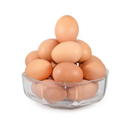 eggs in transparent bowl isolated on white