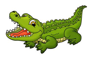 Canvas Afdrukken  - cartoon scene with funny crocodile on white background - illustration for children