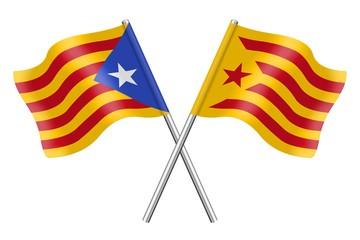 Banderas: Cataluña, Estelada blava y Estelada roja
