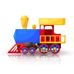 Red blue train with shadow and reflection. Cartoon. Vector illus