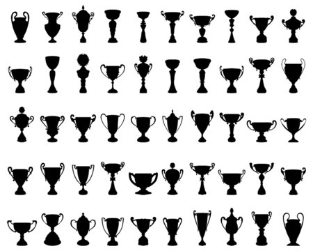 Black silhouettes of trophy cup, vector illustration