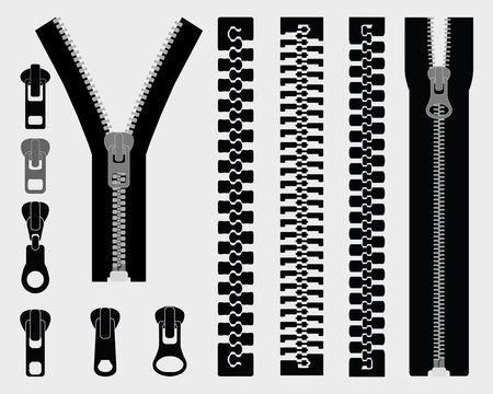 Set of different zipper black symbols, vector