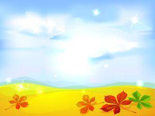 autumn landscape background - vector illustration